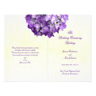 """Purple Hydrangea Folded Wedding Program Template 8.5"""" X 11"""" Flyer"""