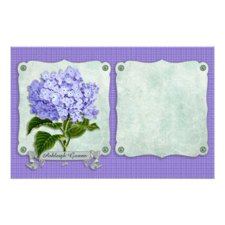 Purple Hydrangea Green Paper Ribbon Square Cutouts