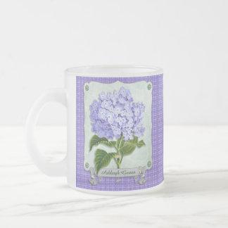 Purple Hydrangea Green Paper Ribbon Square Cutouts 10 Oz Frosted Glass Coffee Mug