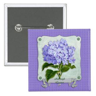 Purple Hydrangea Green Paper Ribbon Square Cutouts Button