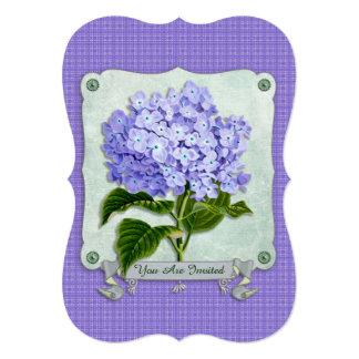 Purple Hydrangea Green Paper Ribbon Square Cutouts Card