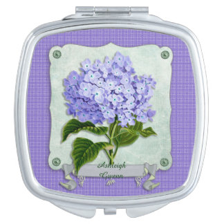 Purple Hydrangea Green Paper Ribbon Square Cutouts Compact Mirror