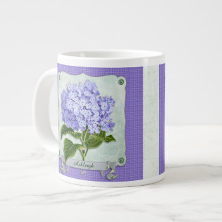 Purple Hydrangea Green Paper Ribbon Square Cutouts Giant Coffee Mug