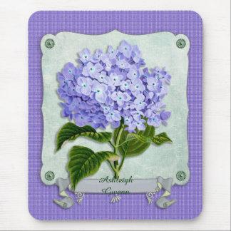 Purple Hydrangea Green Paper Ribbon Square Cutouts Mouse Pad