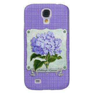 Purple Hydrangea Green Paper Ribbon Square Cutouts Samsung S4 Case
