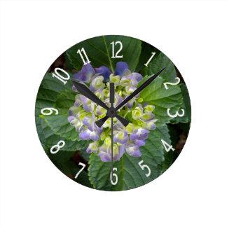 Purple Hydrangea Green Yellow Round Clocks