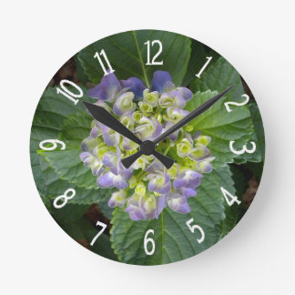 Purple Hydrangea Green Yellow Round Clock