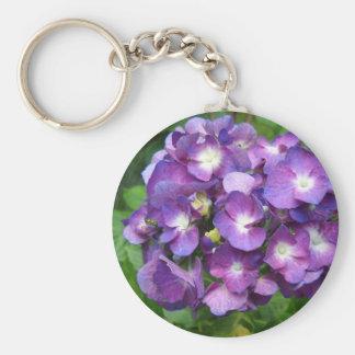 Purple Hydrangea Basic Round Button Keychain