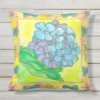 Purple Hydrangea Lily Watercolor Flowers Throw Pillow
