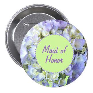 Purple Hydrangea Maid of Honor Pinback Button