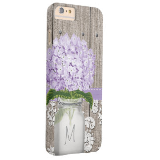 Purple Hydrangea Monogram Mason Jar Barely There iPhone 6 Plus Case
