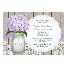 Purple Hydrangea Monogram Mason Jar Bridal Shower Card at Zazzle