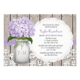 Purple Hydrangea Monogram Mason Jar Bridal Shower Personalized Invitations