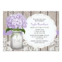 Purple Hydrangea Monogram Mason Jar Bridal Shower 5x7 Paper Invitation Card