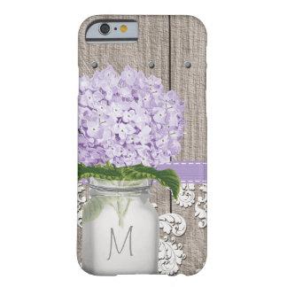 Purple Hydrangea Monogrammed Mason Jar Barely There iPhone 6 Case