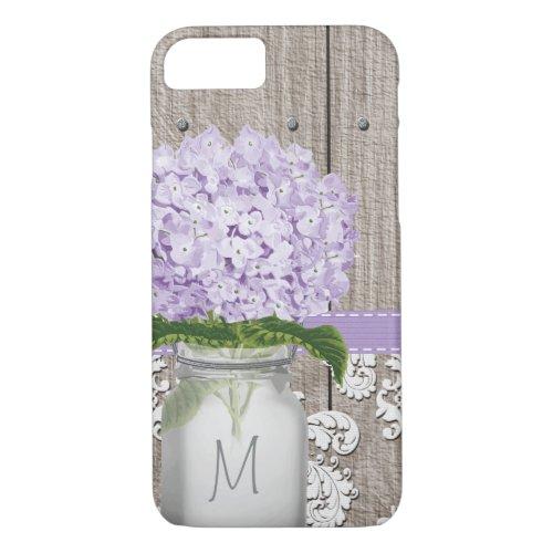 Purple Hydrangea Monogrammed Mason Jar Phone Case