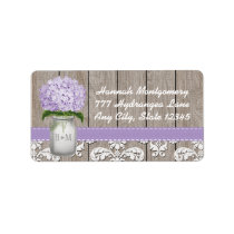 Purple Hydrangea Monogrammed Mason Jar Label