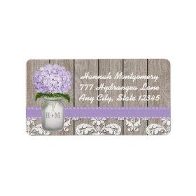Purple Hydrangea Monogrammed Mason Jar Custom Address Labels