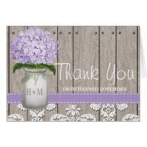 PURPLE Hydrangea Monogrammed Mason Jar THANK YOU