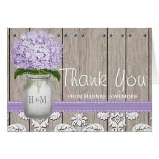 PURPLE Hydrangea Monogrammed Mason Jar THANK YOU Card