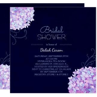Purple Hydrangea Navy Blue Bridal Shower Card