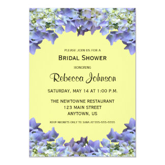 Purple Hydrangea on Yellow Bridal Shower 5x7 Paper Invitation Card
