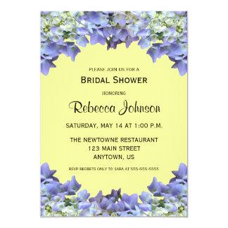 Purple Hydrangea on Yellow Bridal Shower Card