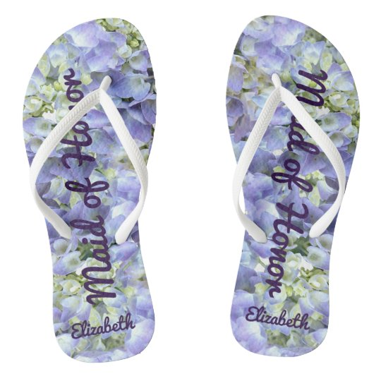 44ae7b0674d06 Purple Hydrangea Personalized Maid of Honor Flip Flops