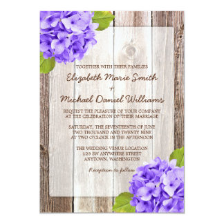 Purple Hydrangea Rustic Floral Barn Wood Wedding Card