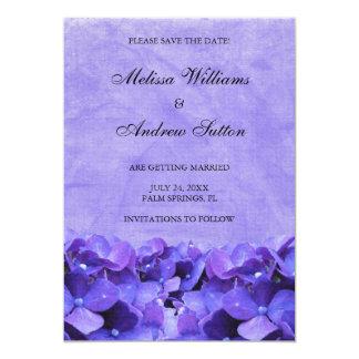 """Purple Hydrangea Save the Date Announcement 5"""" X 7"""" Invitation Card"""