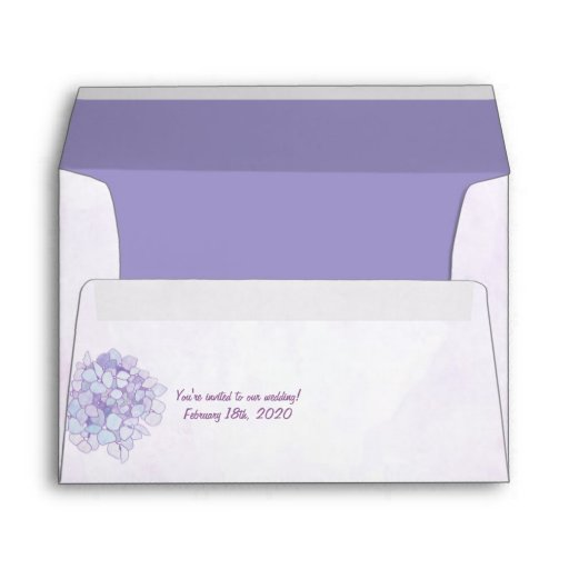 Purple Hydrangea Wedding Invitation A7 Envelope