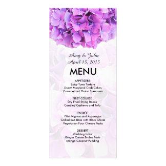 Purple hydrangea wedding menu hydrangea4