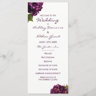 Purple Hydrangea Wedding Program
