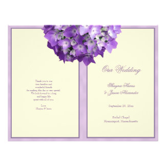 Purple Hydrangea Wedding Program Off White
