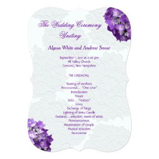 Purple Hydrangea Wedding Program Templates Card