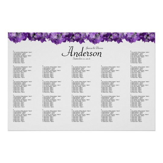 purple hydrangea wedding reception seating chart