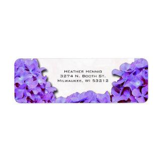 Purple Hydrangea Wedding Return Address Label