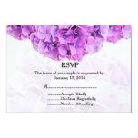 Purple hydrangea wedding RSVP hydrangea4 3.5x5 Paper Invitation Card
