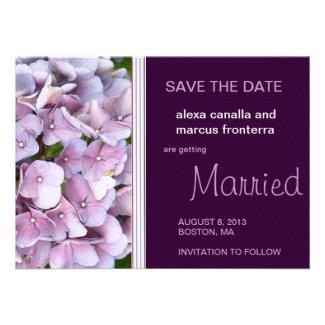 Purple Hydrangea Wedding Save the Date Card