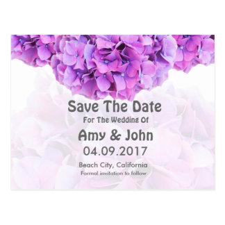 Purple hydrangea wedding save the date hydrangea4 postcard