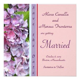 Purple Hydrangea Wedding Save the Date Personalized Invites