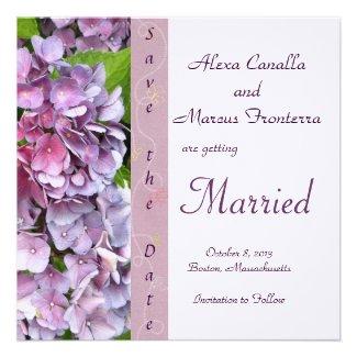 Purple Hydrangea Wedding Save the Date Custom Invitations
