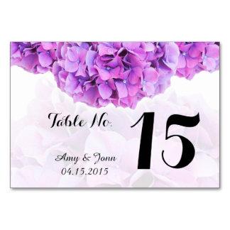Purple hydrangea wedding table numbers hydrangea4 card