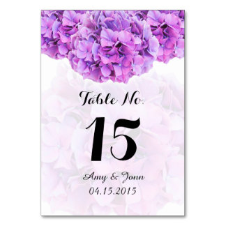 Purple hydrangea wedding table numbers hydrangea4 card
