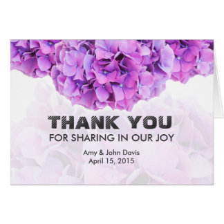 Purple hydrangea wedding thank you note hydrangea4 card