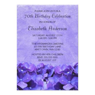 "Purple Hydrangeas 70th Birthday Party Invitations 5"" X 7"" Invitation Card"