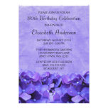 Purple Hydrangeas 80th Birthday Party Invitations