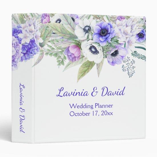 Purple Hydrangeas and Anemones Watercolor Flowers 3 Ring Binder