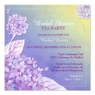 Purple Hydrangeas Bridal Shower Tea Party Card