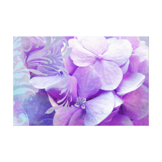 Purple Hydrangeas floral swirl wrapped canvas Gallery Wrapped Canvas